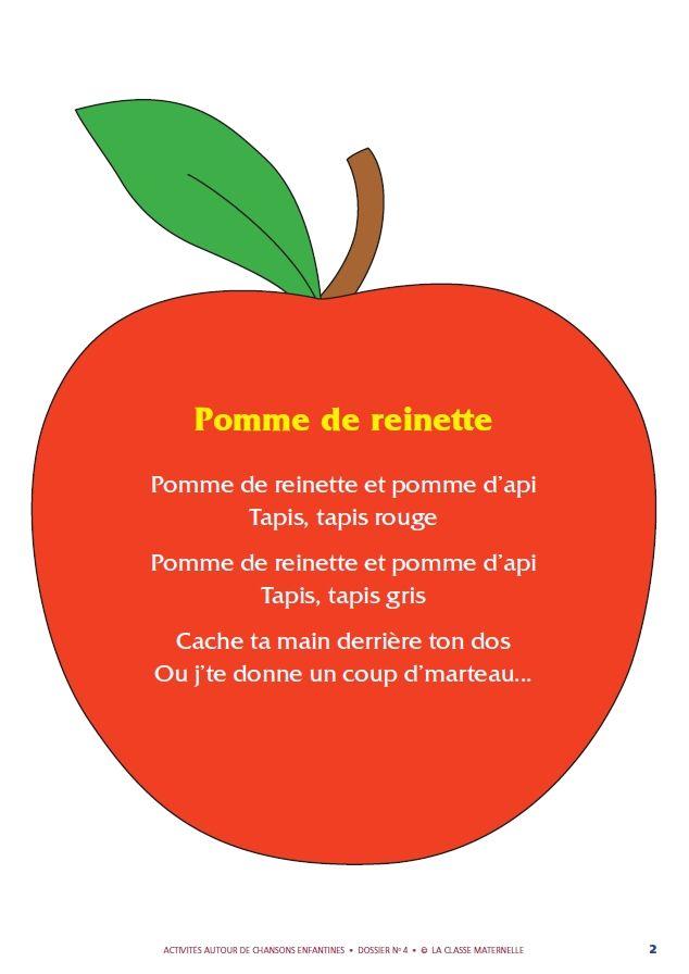 Des activités autour de la chanson « Pomme de Reinette » pour les élèves de PS, GS et MS.
