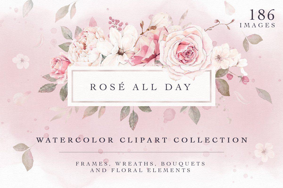 Ad Rose Watercolor Clipart & Invitation by Pretty Little