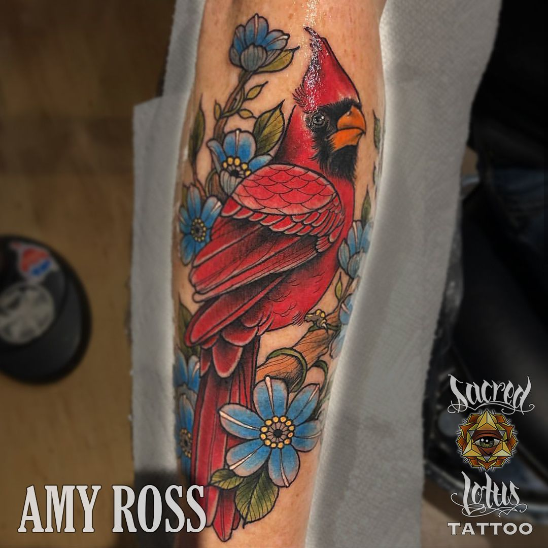 Cardinal By Amy Ross At Sacred Lotus Tattoo In Asheville Nc Tattoos Tattoo Shop Lotus Tattoo