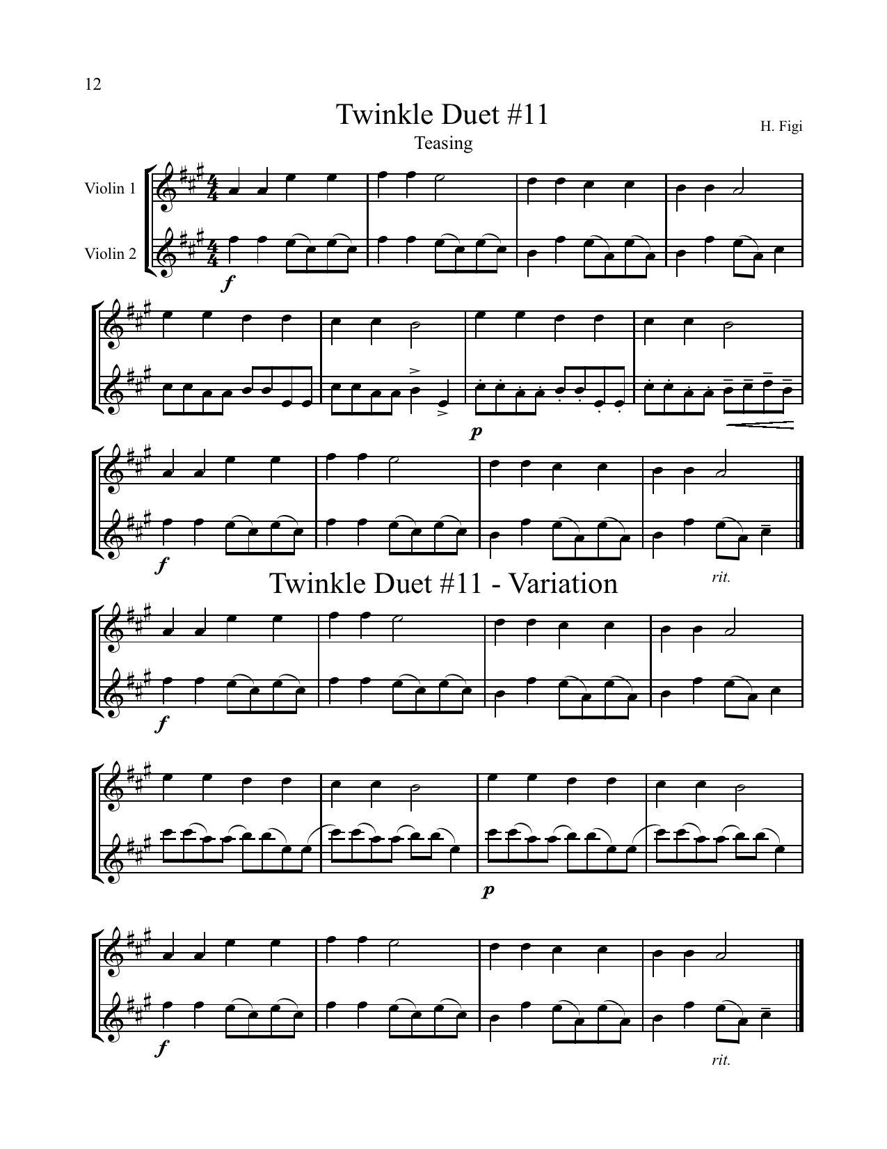 Violin Music Twinkle Duet Here Is A Sample From The Book