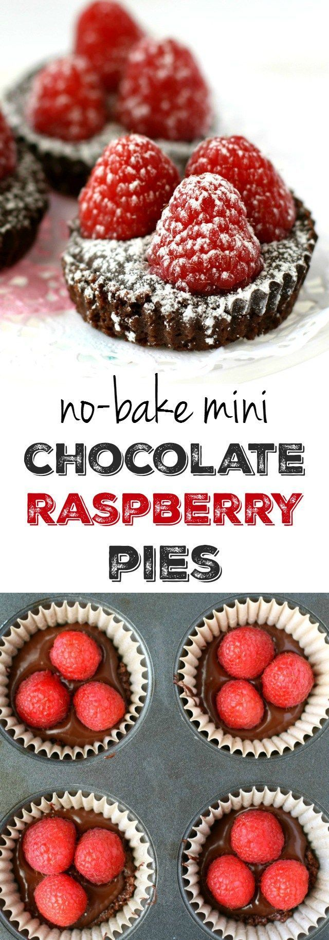 No Bake Mini Chocolate Raspberry Pies -