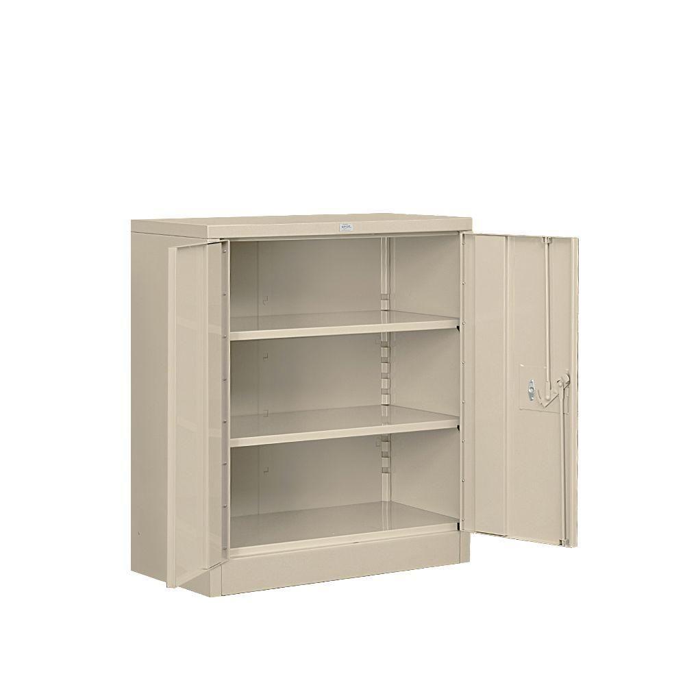 Shelf Heavy Duty Metal Counter Height Unassembled Storage Cabinet In Tan