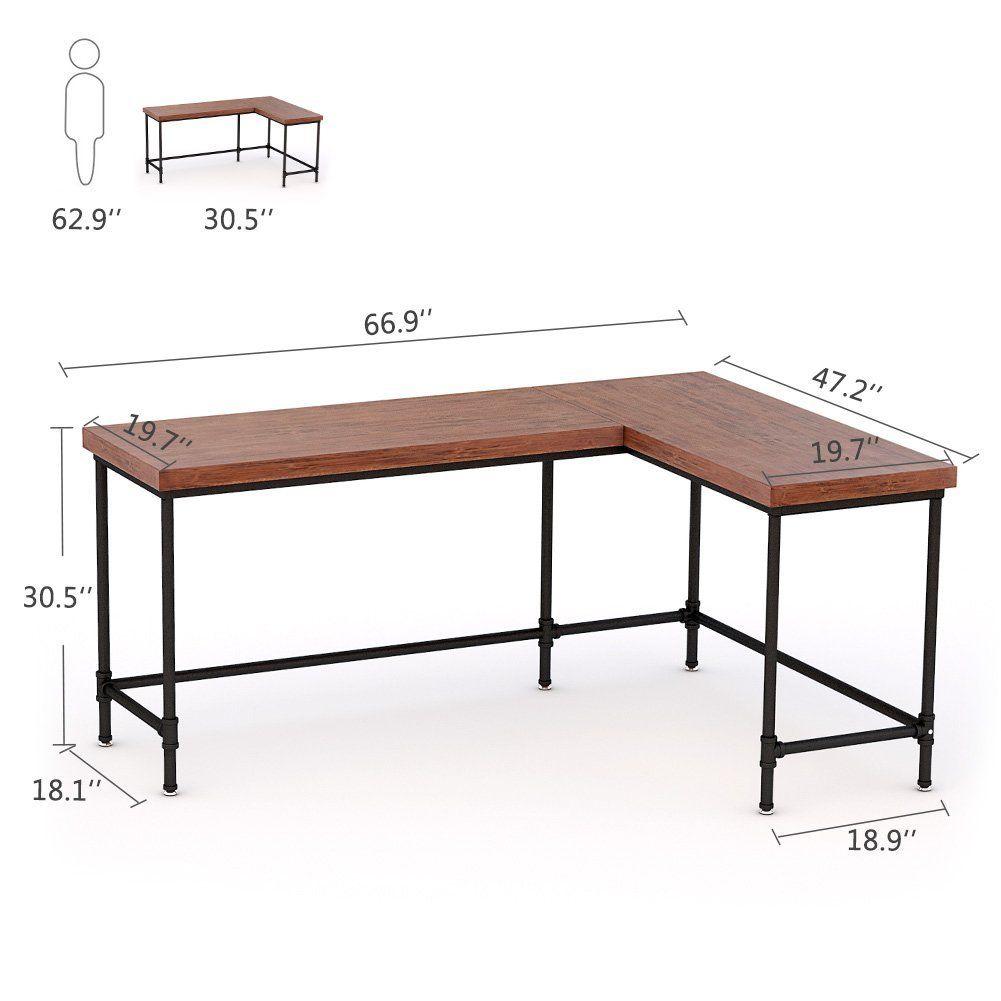Amazonsmile Tribesigns L Shaped Desk 67 Industrial Reversible Corner Computer Office Desk Pc Laptop Stud Home Office Furniture Grey Interior Doors Furniture