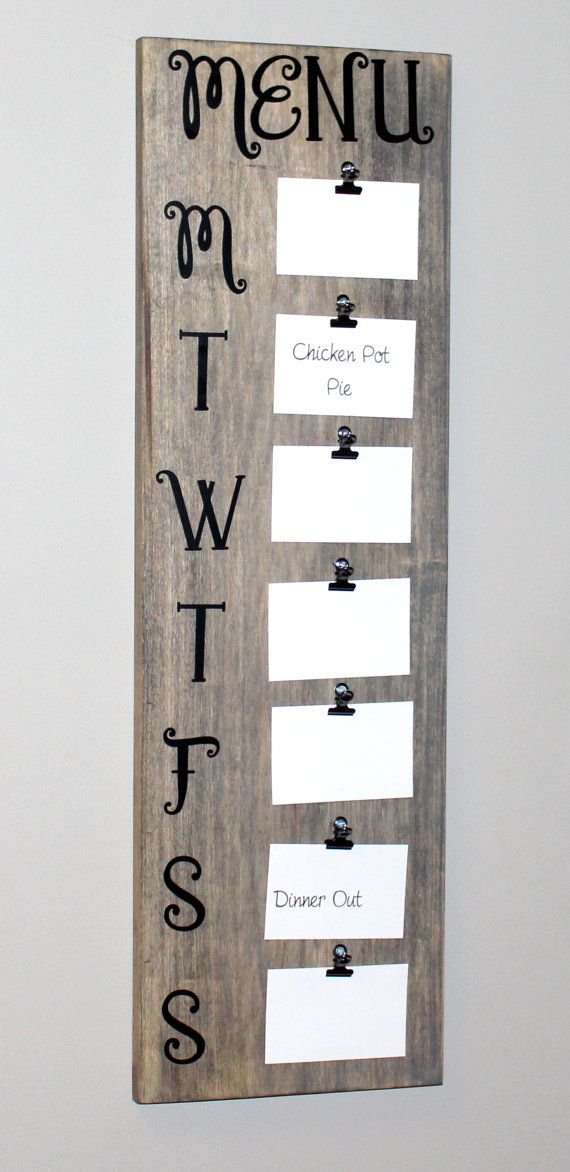 Barnwood Rustic Menu Board 31 Tall Holds 35 X 5 Cards Great Weekly Planner For The Busy Mom This Is A Fun Easy Way To Get Organized