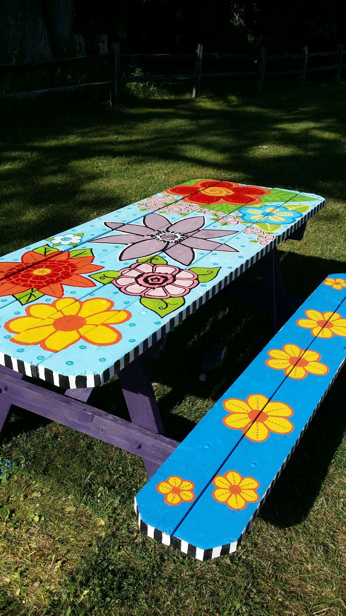 My Picnic Table Whimsical Art Picnic Table Painted