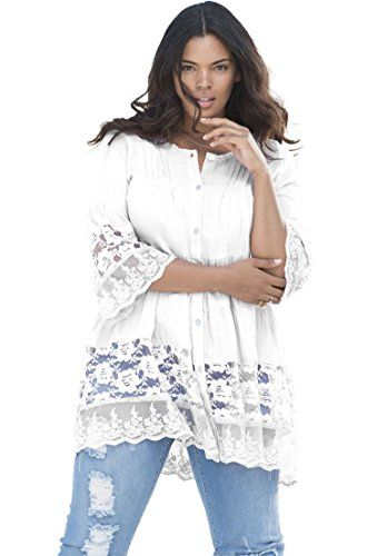 6b884b5ef4d Shop for Illusion Lace Tunic and more Plus Size Shirts and Blouses from  Roamans. Your Style Your Size to