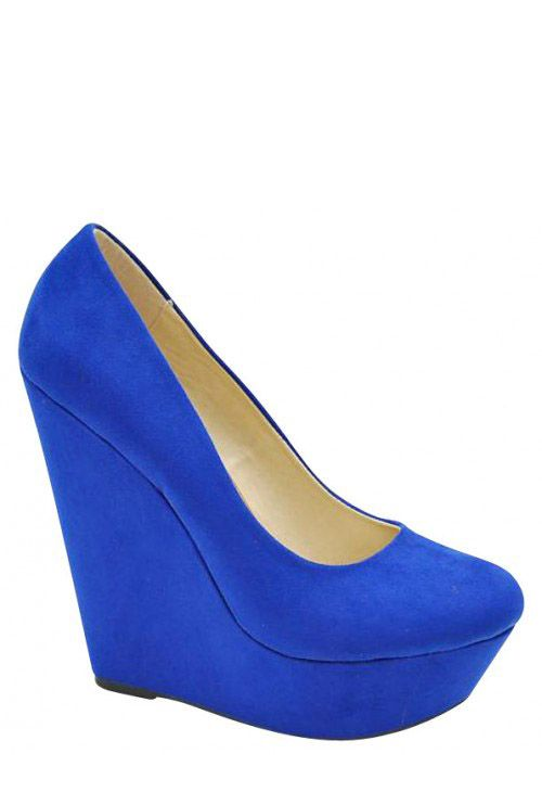 Cobalt Blue Wedge Heels