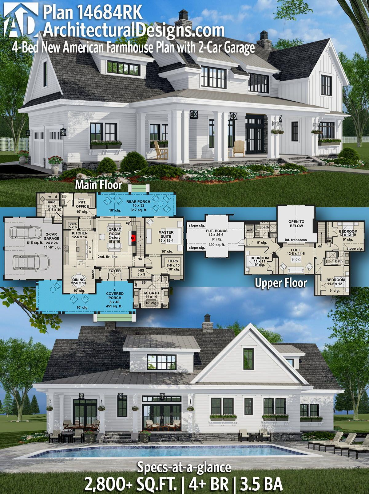 Plan 14684rk 4 Bed New American Farmhouse Plan With 2 Car Garage Modern Farmhouse Plans Family House Plans House Plans Farmhouse