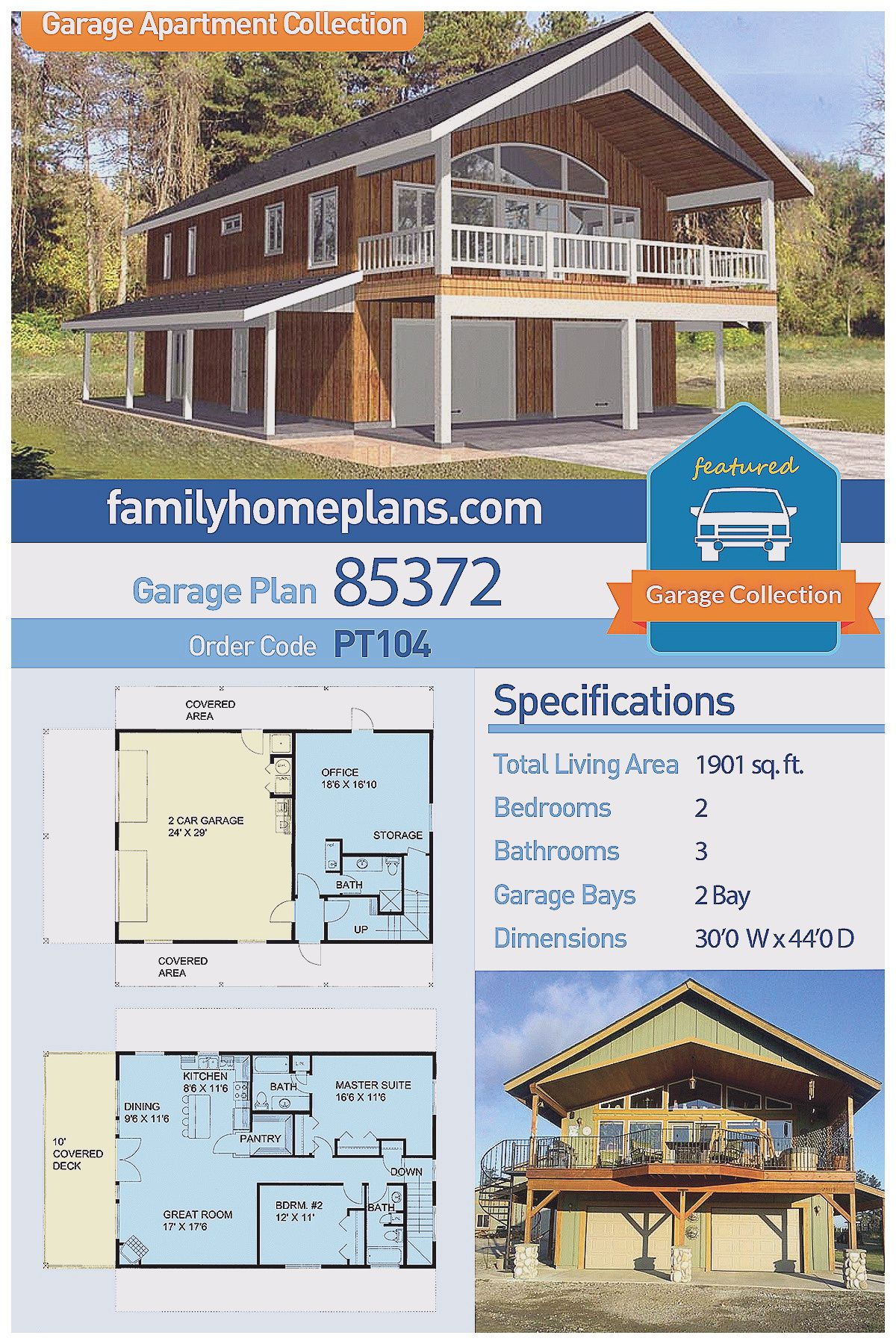 Modern Farmhouse Style 2 Car Garage Apartment Plan Number With 2 Bed 3 Bath Homeplans Rumah Kecil Rumah