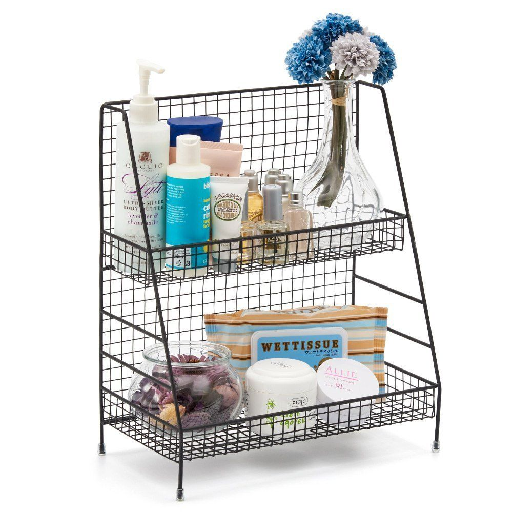 Amazon Com 2 Tier Organizer Rack Ezoware Wire Basket Storage Container Countertop She Apartment Storage Diy Kitchen Containers Apartment Kitchen Organization