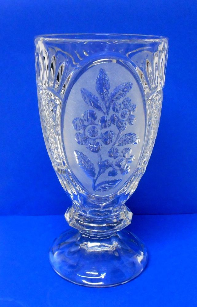 Stunning Large Heavy Crystal Clear Glass Vase Pedestal Base
