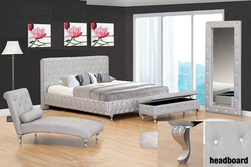 Best Master Jp01 Ashton Silver Finish Leather Like Vinyl Tufted Queen Bed Frame Set With Crystal Button Tufting Bed Frame Sets Leather Bed Frame Queen Bed Frame
