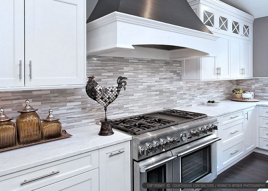 Modern White Kitchen Subway Marble Backsplash Tile From