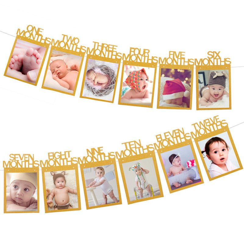 Diy Monthly 1st One Year Old Baby Photo Booth Birthday Party Banner Flag Decor 1st Birthday Party For Girls First Birthday Party Themes 1st Birthday Girls