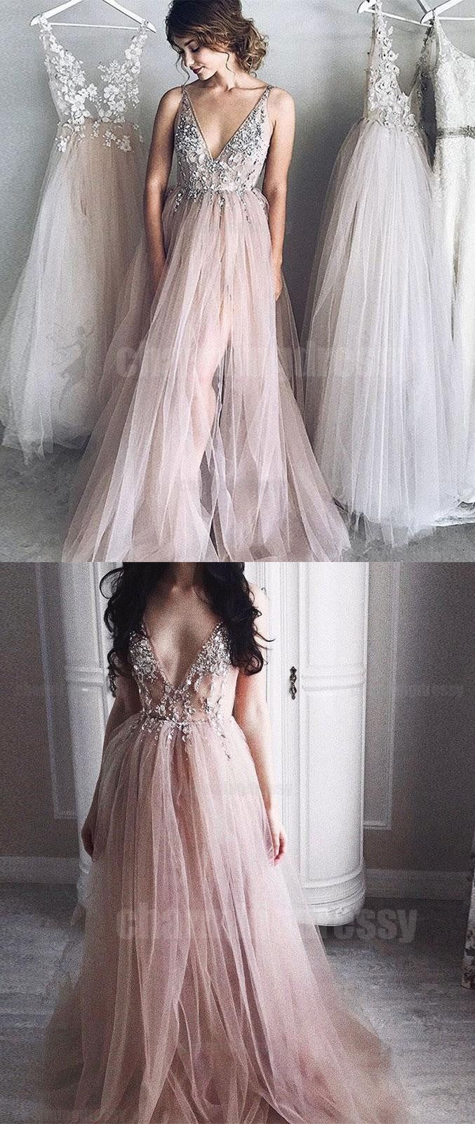 V neck long lace and tulle princess new arrival prom dresses