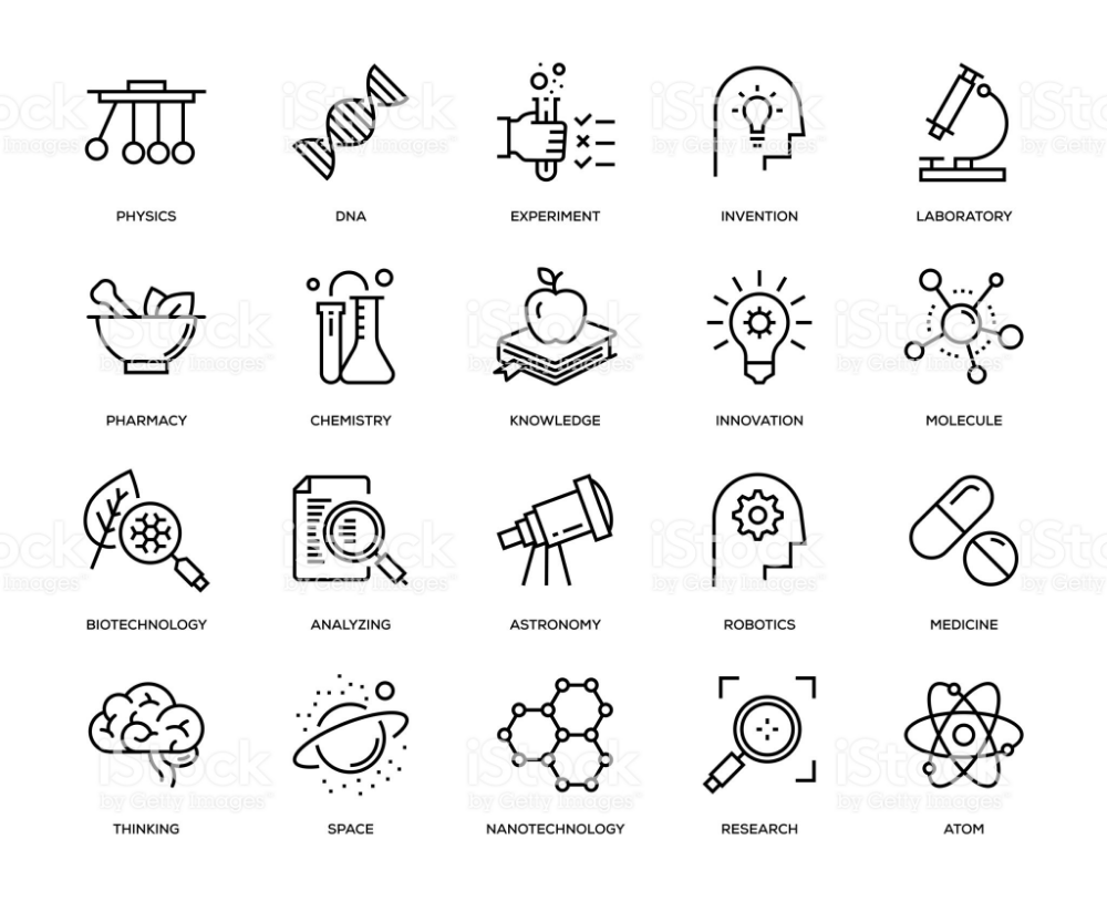Science Icon Set Thin Line Series Science icons, Icon