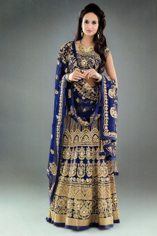 1f0a0387e1 Bollywood Style Royal Blue Art silk Embroidery Work Semi-Stitched Bridal  Lahenga SKU  ER11190 Price₹4