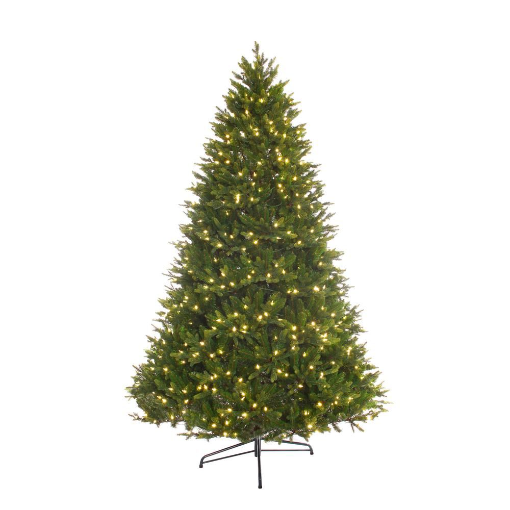 Puleo International 7 5 Ft Pre Lit Led Premium Miracle Shape Northern Forest Artificial Christmas Tree With 700 White Led Lights Products Fir Christmas Tr