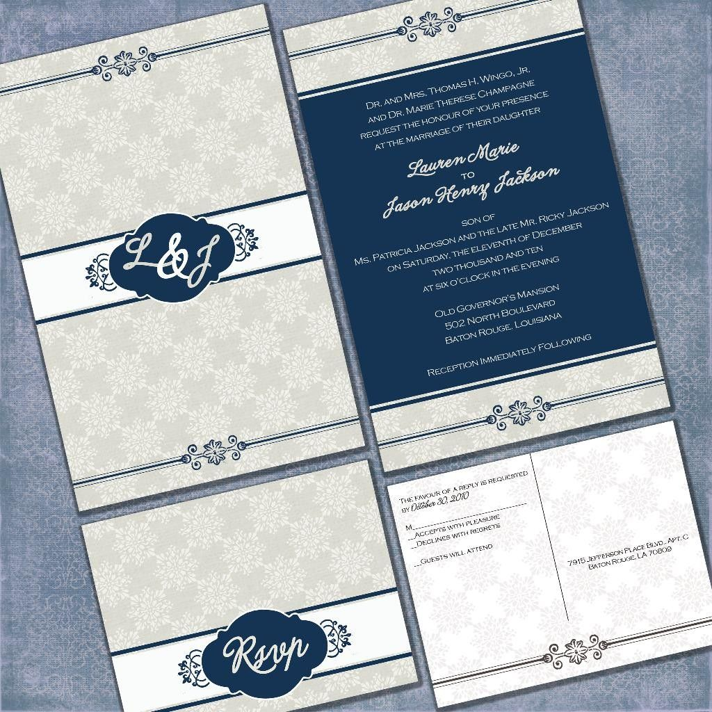 Tuscany in Blue Custom Wedding Invitation Suite with RSVP postcards and address labels. $1.60, via Etsy.