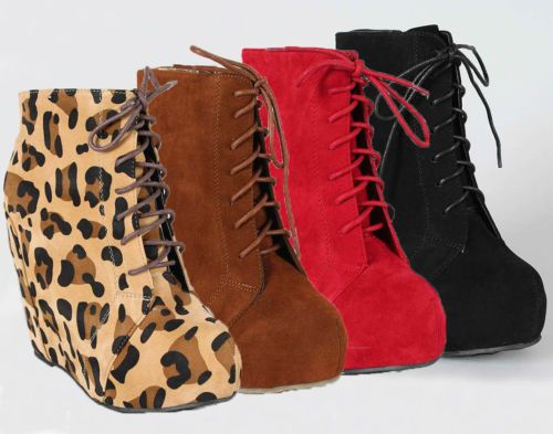 668bc11c042 New Hidden Platform Wedge Lace Up Booties Ankle Boot Camilla-5 Leopard Red  Black