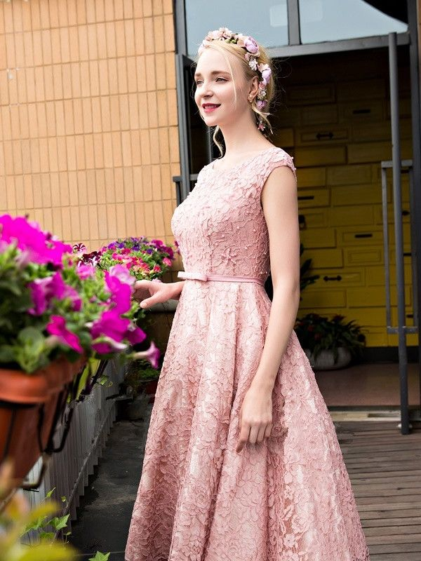 Glamorous Pink Beadings Lace-up Lace Tea Length A-Line Homecoming ...