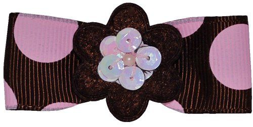 """2"""" grosgrain brown/pink candy dot hair bow, with brown felt flower and pink sequins. Partially lined in pink velvet ribbon with a #unique non-slip #grip for secur..."""