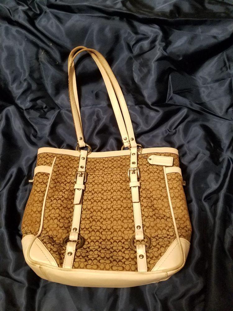 Coach purse F11526 Brown signature fabric white leather