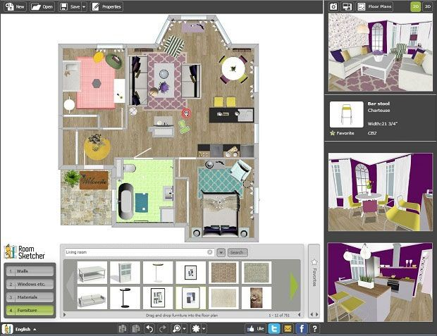 Roomsketcher Home Designer Free Online Design Software Model Interior Designs House Roomsketcher Home Designer Free Online Design Software Improve Interior Pr Interieur Design Home Decoratie