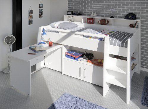 hochbett etagenbett mit schreibtisch mary 1 wei dekor kinderbett kinderzimmer - Coolste Etagenbetten Mit Schreibtisch