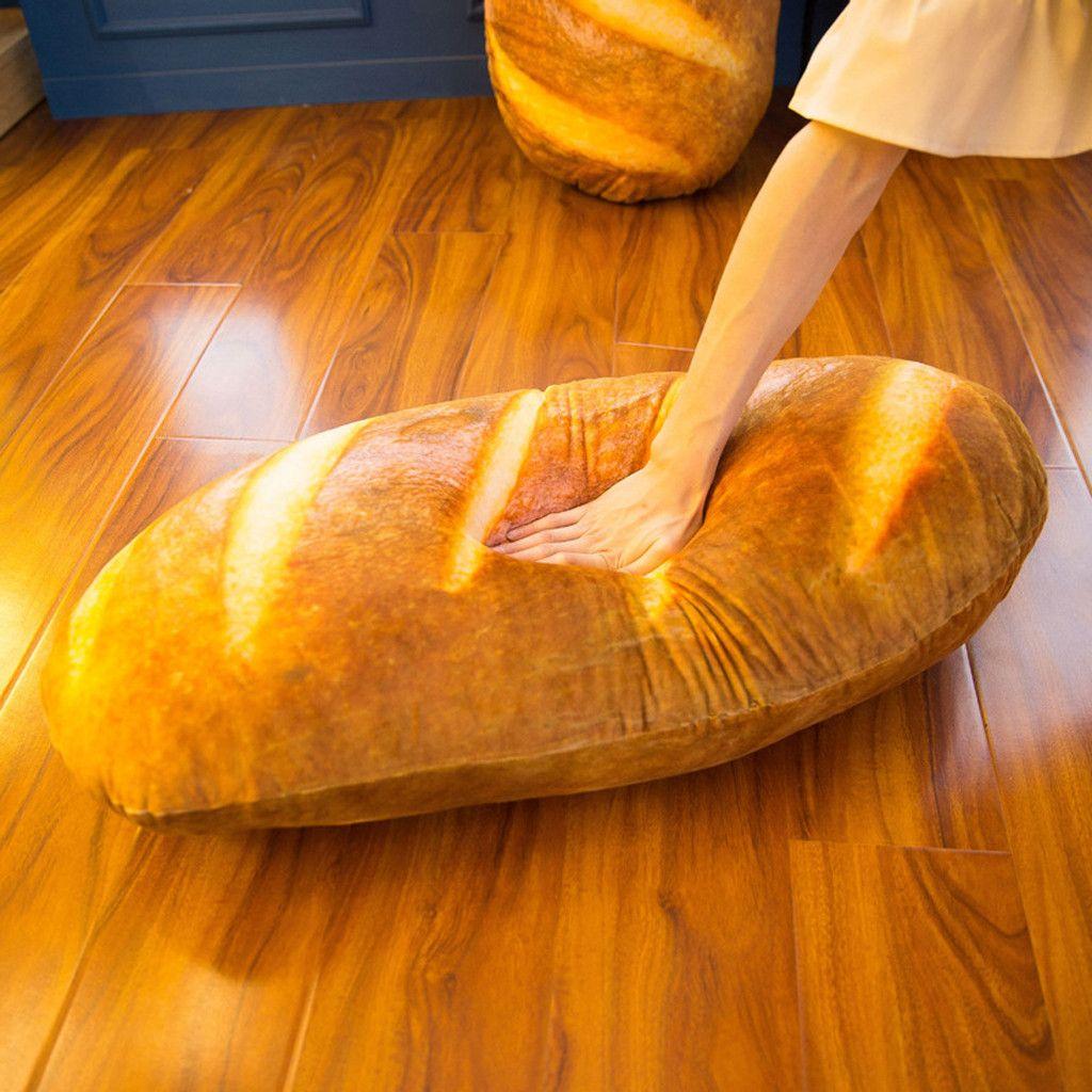 Xisheep 15.7in 3D Simulation Bread Shape Pillow Soft Lumbar Back Cushion Plush Stuffed Toy