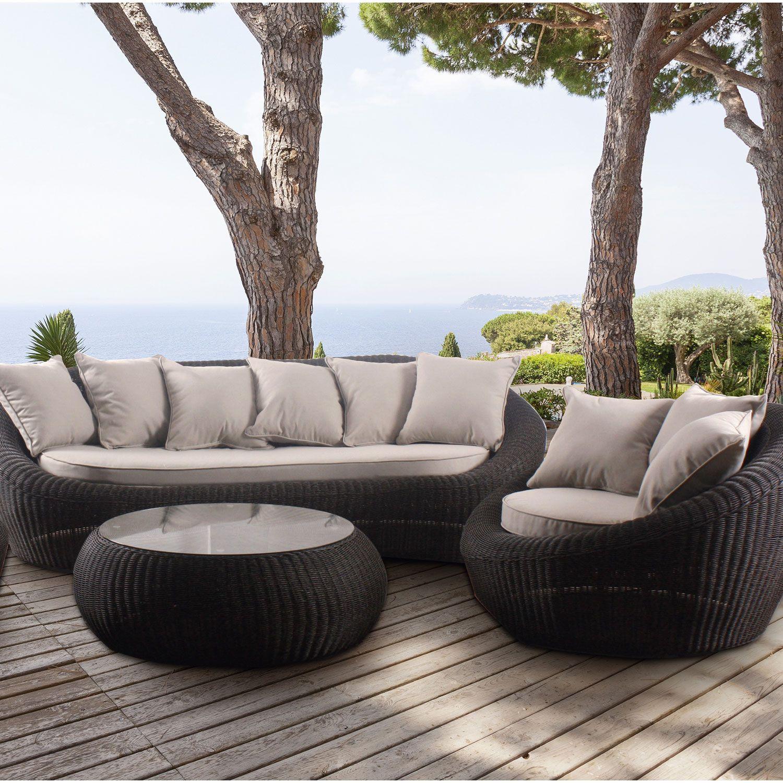 Composition du salon de jardin:1 canapé + 2 fauteuils + 1 table ...