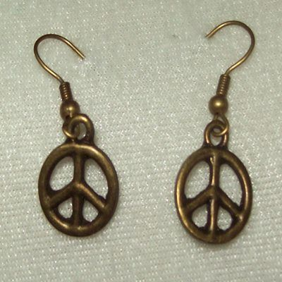 "Bronze coloured, peace sign, dangle earrings -- For Sale @ ""World Of Whimsy"" Group: https://www.facebook.com/groups/WorldOfWhimsy"