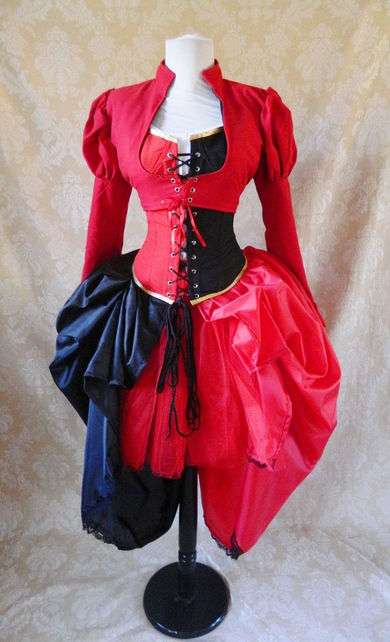 Harley quinn bustle tie on skirt and tutu setto fit up to a