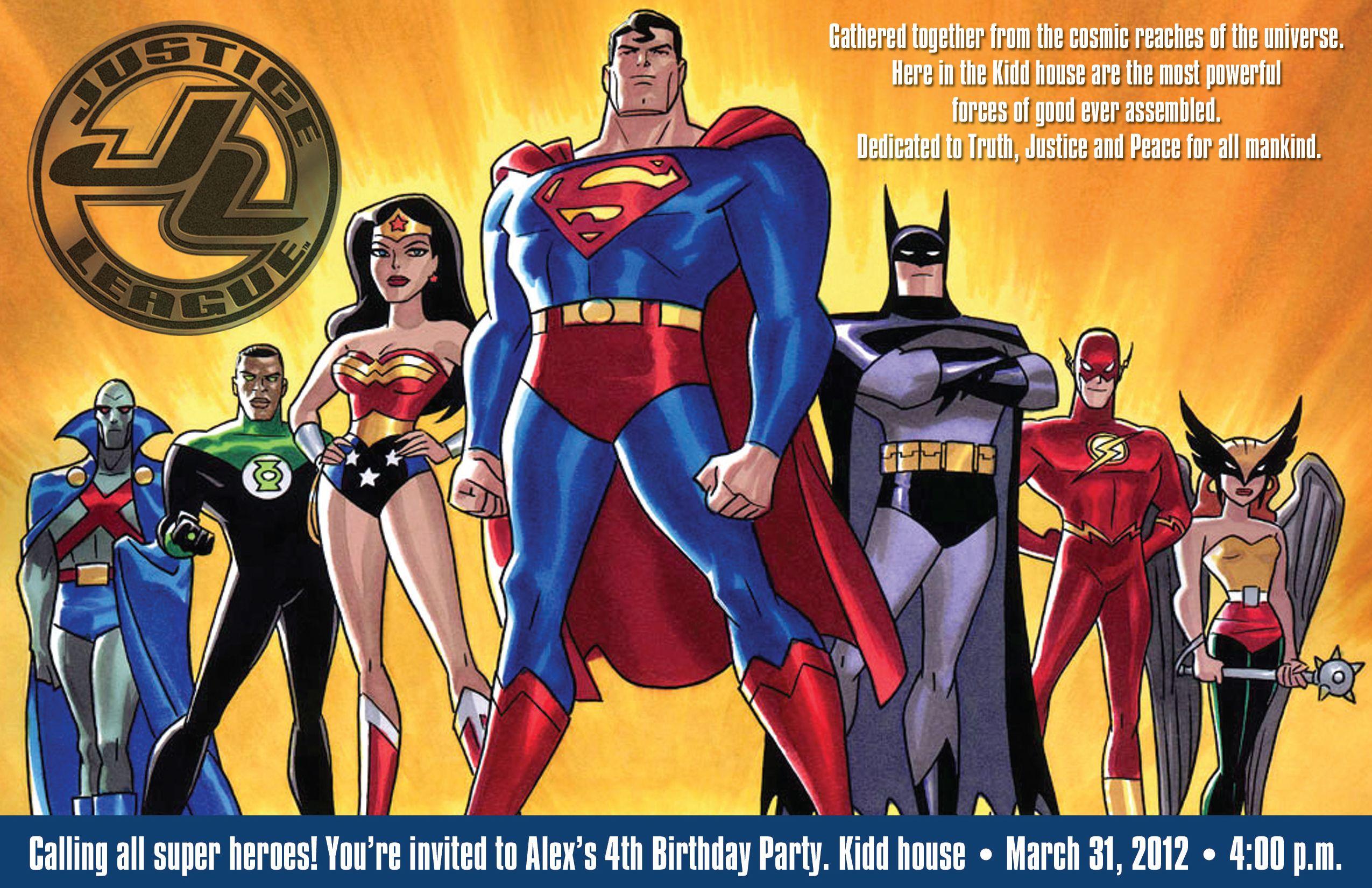 Justice league birthday invitation invitations pinterest justice league birthday invitation stopboris Images