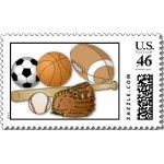 $23.75 per sheet of 20 - sports balls stamp - Make each letter a special delivery! Put a personal touch on your mail, or share this useful gift with friends and family. Zazzle's large custom stamps are especially perfect for standard letters and larger envelopes.