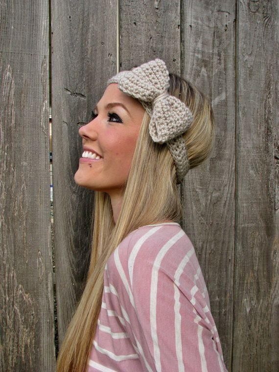 Barley Crochet Bow Headband w/ Natural Vegan Coconut Shell Buttons ...