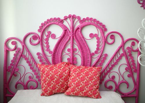 old wicker headboard + can of spray paint = awesome | Pink ...