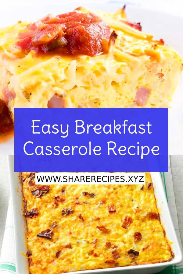 Easy Breakfast Casserole Recipe This Easy Breakfast Casserole Recipe has hash browns, ham, cheese, and eggs. This hash brown breakfast casserole can be made overnight. Perfect for a holiday breakfast!