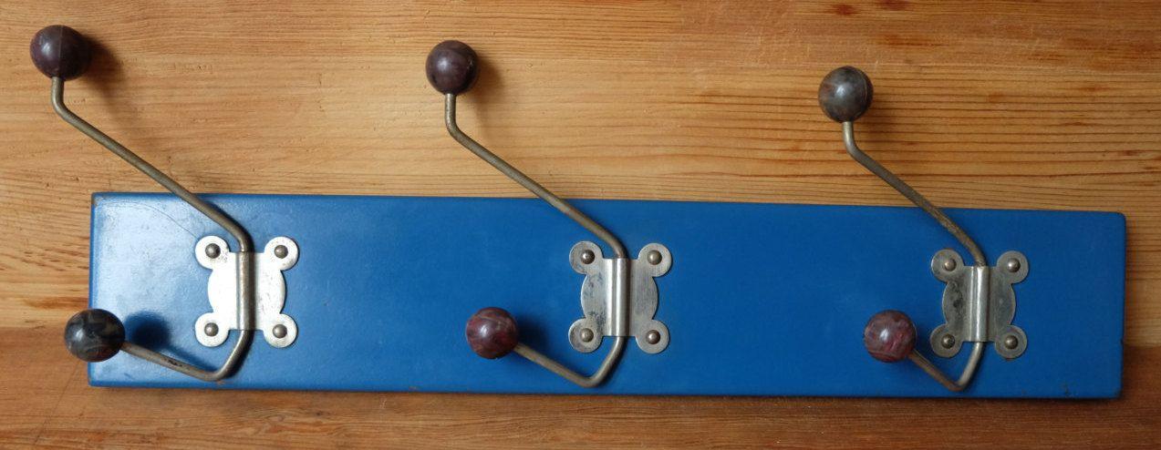 Vintage Metal Wall Rack With 3 Hooks