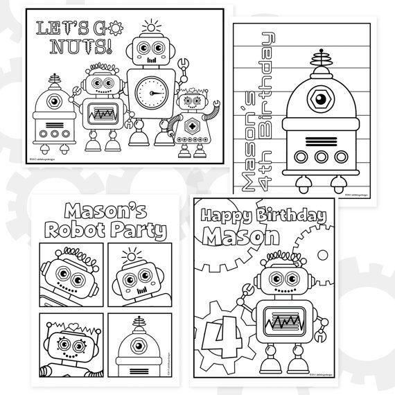 Robot Party Printable Coloring Sheets Personalized Coloring