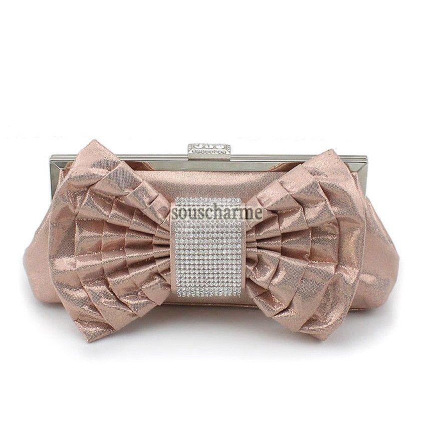 Pochette soirée champagne réfléchissante rehaussé de noeud à boucles aux strass pochette portefeuille femme pas cher