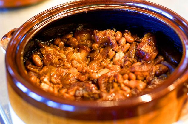 Boston Baked Beans - crock on low for 8 hours instead of in the oven for 3.