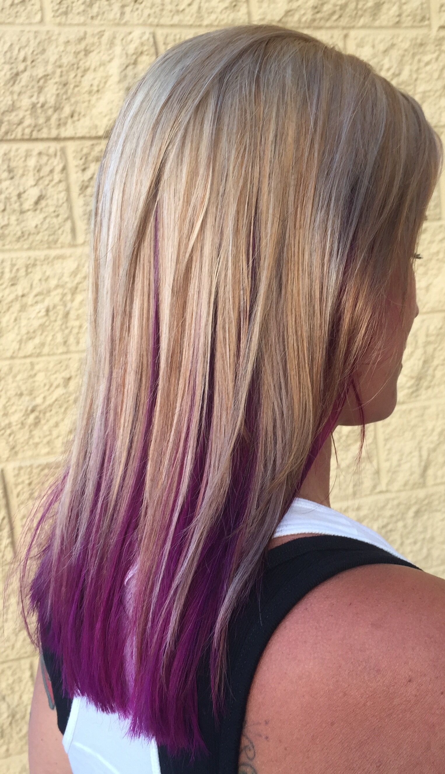 Beige Blonde Highlights And Lowlights With A Pop Of Purple Fuschia