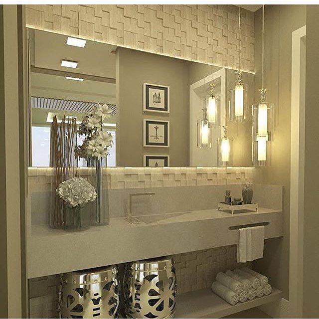 Construindo Minha Casa Clean — Lavabo sofisticado! @construindominhacasaclean -> Banheiro Pequeno Sofisticado