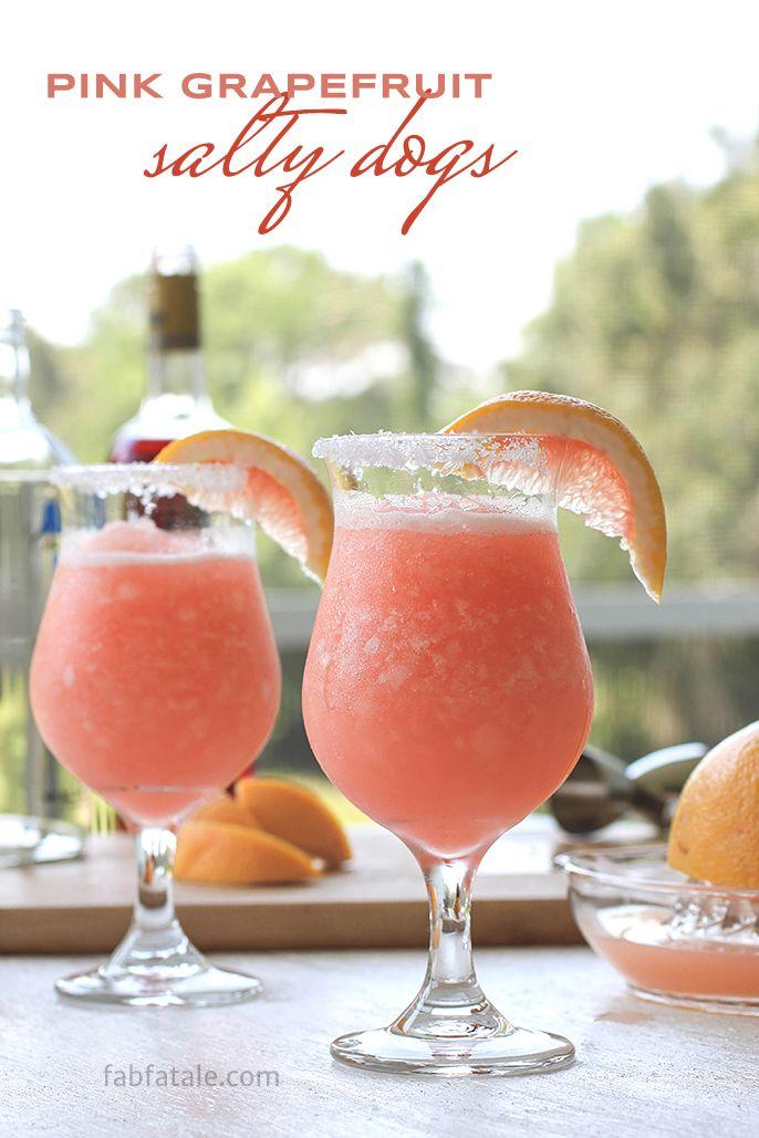 Pink Grapefruit Salty Dog Recipe #summercocktail #boozeytuesdays