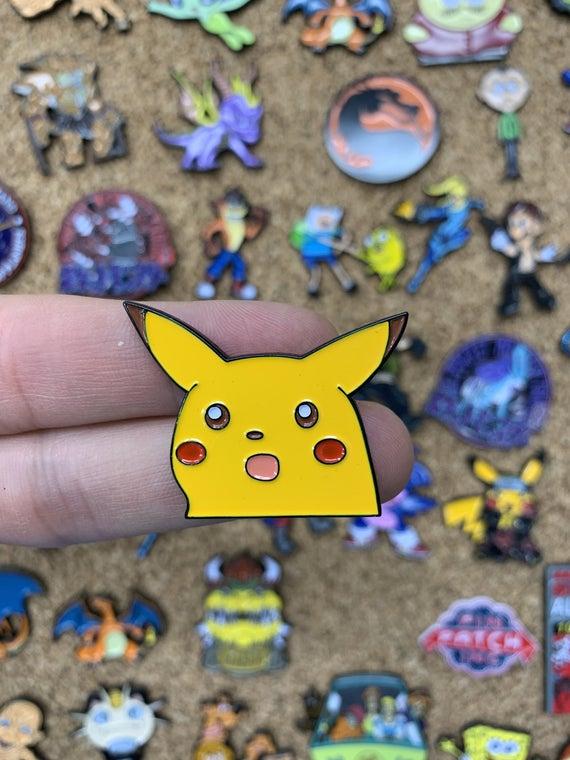Surprised Pikachu Meme Pokemon Custom Enamel Pin Pins Pin Etsy Enamel Pins Custom Pins Cute Pins