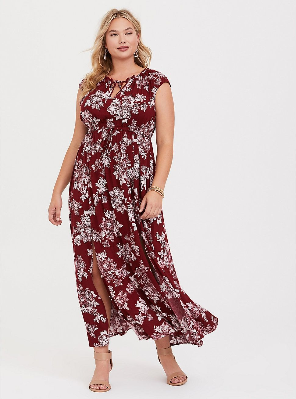 Wedding decorations red and black october 2018 Red Floral Tie Neck Challis Maxi Dress in   Gifts for myself