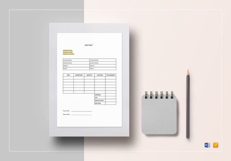 Credit Memo  Excel Template  Document Design Templates