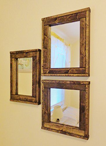 three mirrors collage reclaimed wood mirror rustic modern home home decor mirror housewares frame stained mirror