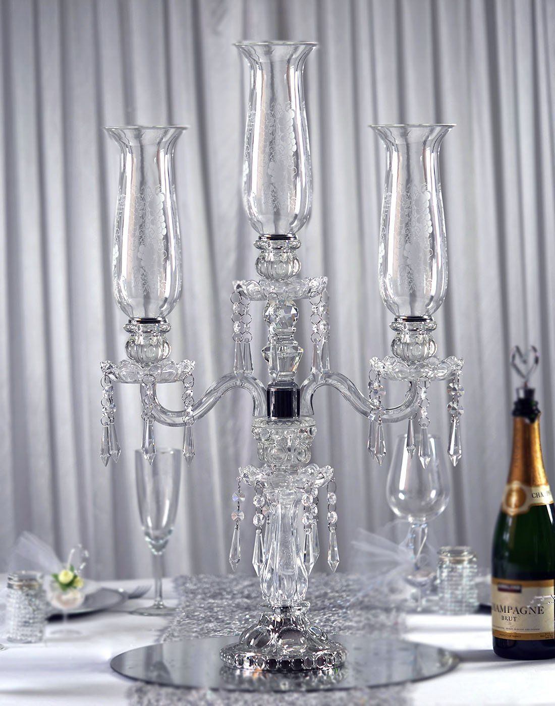 28 Tall Handcrafted 3 Arm Crystal Glass Tabletop Candelabra Baroque Taper Candleholder Centerpieces Diy Candle Holders Glass Glass Candle Holders Centerpiece